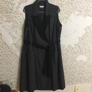 Calvin Klein Sleeveless Color block Wrap Dress